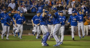 Toronto Blue Jays celebrate a win
